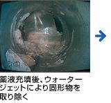 薬液充填後、ウォータージェットにより固形物を取り除く